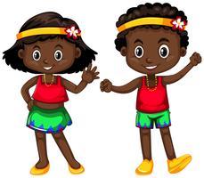 De jongen en het meisje van Papoea-Nieuw-Guinea op witte achtergrond