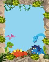 Natuur schattig dinosaurus frame vector