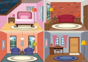 Een set van kamer interieur achtergrond vector