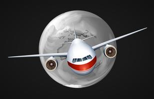 Een vliegtuig dat over de hele wereld reist vector