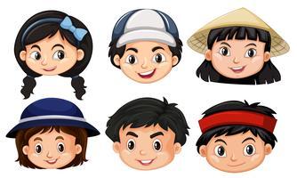Verschillende gezichten van asain-kinderen vector