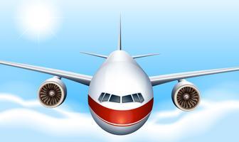 Een lucht met een vliegtuig vector