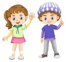 Leuke jongen en meisje met blij gezicht vector