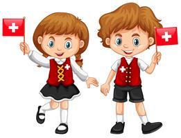 Jongen en meisje met de vlag van Zwitserland vector