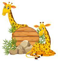 Giraf op houten bannner vector