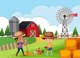 Boer op landbouwgrond vector
