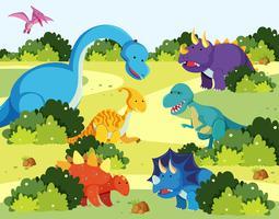 Veel dinosaurussen in de natuur