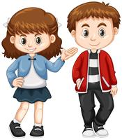 Gelukkige jongen en meisje staan vector