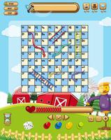 Een snake ladder game sjabloon vector