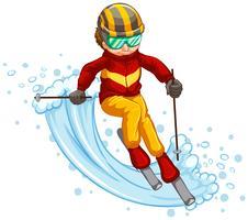 Mens die geïsoleerd concept ski? En vector