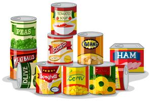 Verschillende soorten ingeblikt voedsel vector