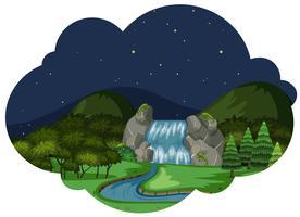 Een rivier in aardlandschap bij nacht vector