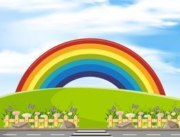 Achtergrondscène met regenboog in het park
