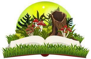 Reserveer met paddestoelen in de tuin vector
