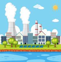 Fabrieksscène met gebouwen en schoorstenen