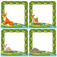 Set van wilde dieren frame vector
