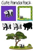 Een pak schattige panda vector