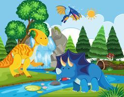 Platte dinosaurus in de natuur vector