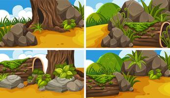 Vier scènes met bossen in het park vector