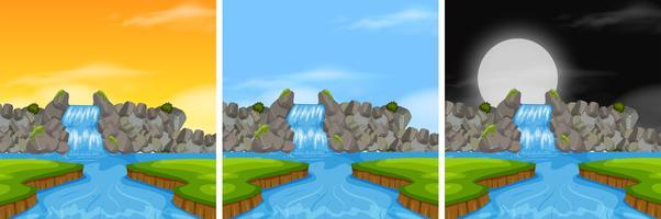 Watervallandschap in verschillende tijd