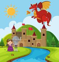 Scène met draak en ridder in sprookjesland vector