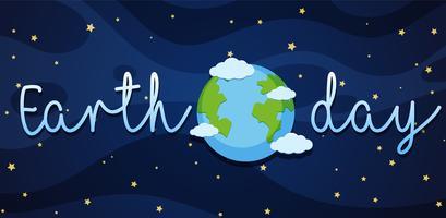 Aardedagaffiche met aarde in melkweg vector