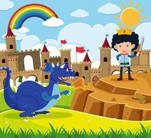 Sprookjesscène met prins en blauwe draak