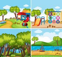 Vier achtergrondtaferelen met speelplaatsen en bos