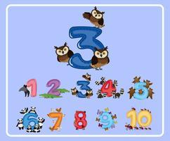 Het tellen van nummer drie met uilen