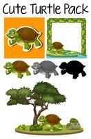 Een pakje schattige schildpad vector