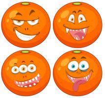 Set van sinaasappelen met uitdrukkingen vector
