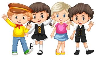 Vier kinderen zwaaiende handen vector