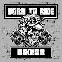 Grunge stijl vintage schedel helm retro en tekst geboren om te rijden