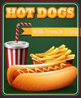 Hotdog en frietjes op het affichemenu vector