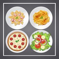 Set van voedsel op het gerecht