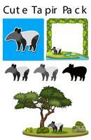 Een pak leuke tapir vector