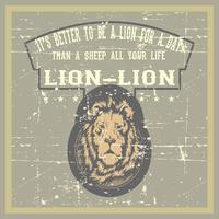 vintage grunge-stijl leeuw met citaat hand tekening vector