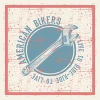 vintage grunge stijl moersleutel met tekst Amerikaanse fietsers vector