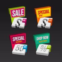 Kleurrijke 3D-verkoop badges concepten