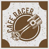 vintage grunge-stijl zuiger met tekst café racer, vector