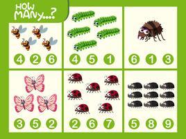 Insecten wiskunde nummer werkblad vector