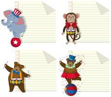 Set van circus dier notitie sjabloon vector