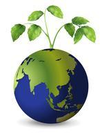 Planeet aarde met groeiende planten vector
