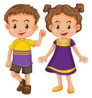 Leuke jongen en meisje in geel en paars kostuum