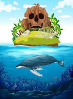 Scène met eiland en walvis onder water vector