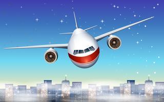 Een vliegtuig boven de stad vector
