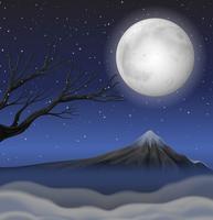 Scène met berg op volle maannacht vector