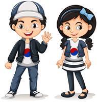 Zuid-Koreaanse jongen en meisje vector