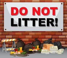 Scène met vuilnis onder het bord laat geen afval achter vector
