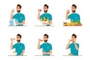 mensen die gezond voedsel en snel voedsel in verschillend karakter eten